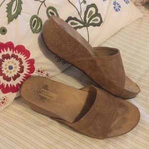 White Mountain Tan Suede Cork Wedge Slide Sandals